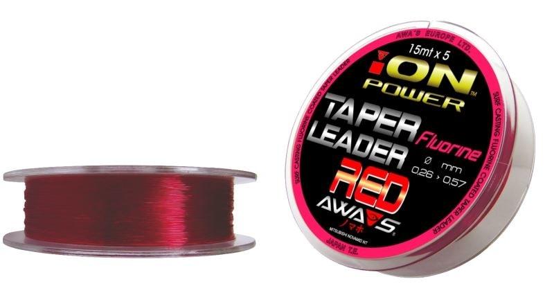 Awa-S Vlasec ujímaný Fluorine Red Taper Leaders 5x15m - 0,26mm to 0,57mm