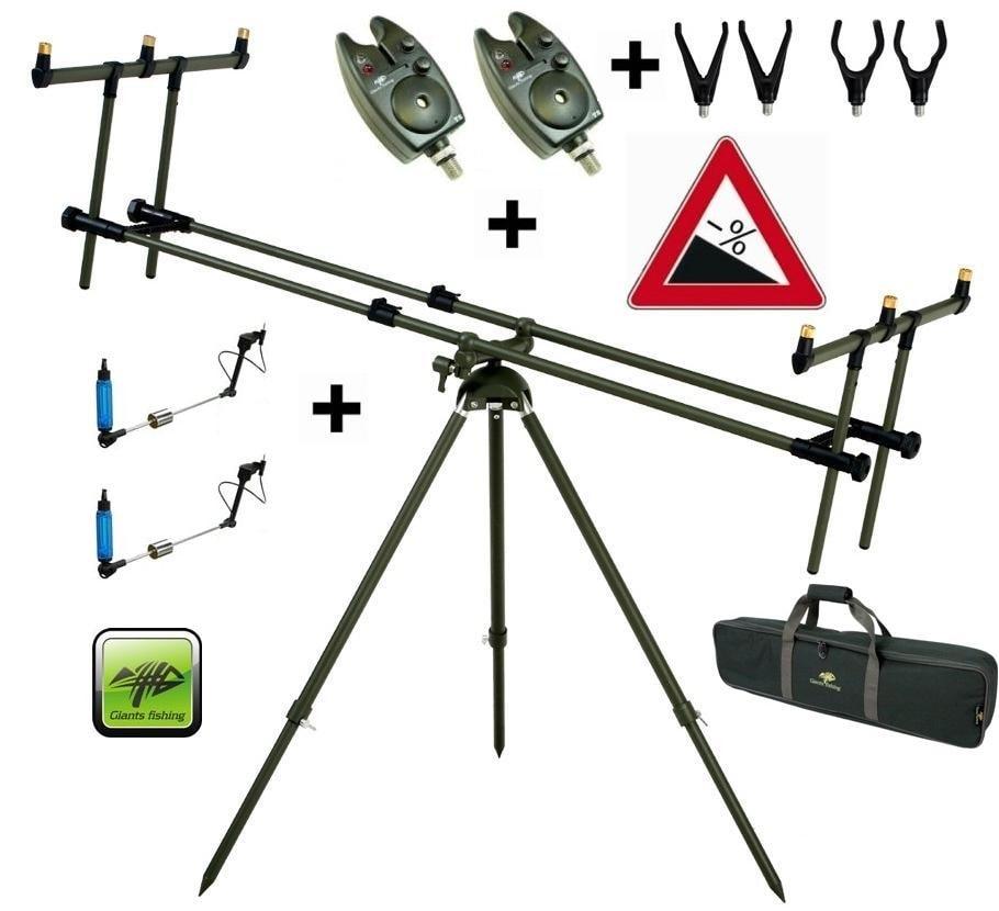 Giants Fishing Stojan Tri Pod Specialist 3 Rods + 2x hlásič + 2x indikátor záběru 4x rohatinky zdarma