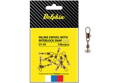 Delphin Karabinka s obratlíkem Inline Head Swivel with Interlock 10ks