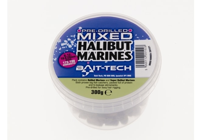 Bait-Tech Pelety Pre-Drilled Halibut Marine Hookers mixed 300g