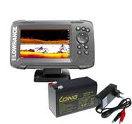 Lowrance Echolot HOOK² 5X se Sondou Splitshot + baterie + nabíječka ZDARMA